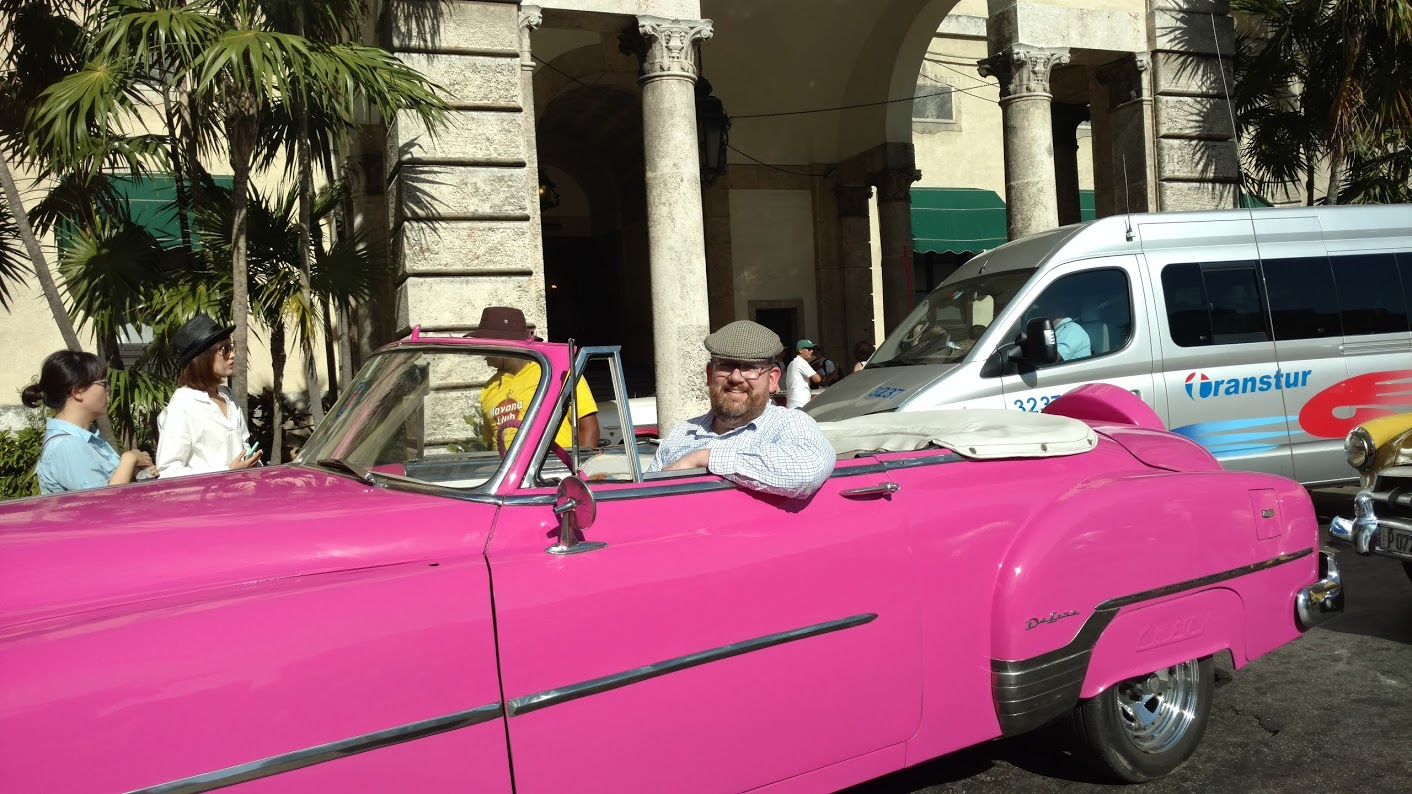 Tyler in a Pink Chevy